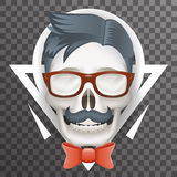 Human Skull geek Hipster Fashion Poster Mustache Bow Glasses Realistic 3d Poster Transparent Background Icon Template Stock Photo