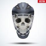 Human skull with Goalkeeper Ice and Field Hockey Helmet Royalty Free Stock Photos