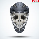 Human skull with Goalkeeper Ice and Field Hockey Helmet. Sport Equipment. Editable Vector illustration isolated on white background Royalty Free Stock Photos