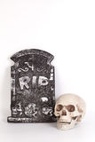 Human Skull with Graveyard isolated on white background Royalty Free Stock Photo