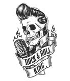 Human skull in rock and roll. Human skull with hairstyle with microphone and ribbon. Vector illustration Stock Photo
