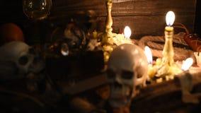 Human skull for Halloween stock video