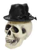 Human skull with a hat Stock Image