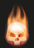 Human skull head with flame. Burning Human skull head with a tail of flame. Art illustration Isolated on background Royalty Free Stock Photography