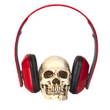 Human skull with headphones Royalty Free Stock Photo