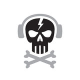Human skull with headphones sign - vector logo template concept illustration. Design element Stock Photography