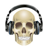 Human Skull and Headphones. In stereo ear-phones on white background Royalty Free Stock Image