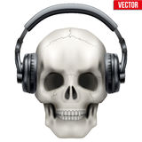 Human Skull with headphones Royalty Free Stock Photography