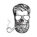 Human skull with hipster beard, wearing aviator sunglasses, smoking pipe. Black and white sketch vector illustration isolated on white background. Hand drawing Stock Photography