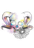 Human skull with horns and sharp teeth Royalty Free Stock Photography