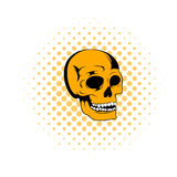 Human skull icon, comics style Stock Images