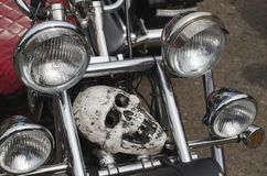 Human skull imitation. Human skull imitation, located on the front of the motorbike Royalty Free Stock Image
