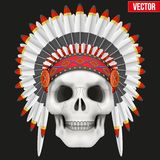 Human skull with indian chief hat Stock Image