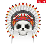 Human skull with indian chief hat. Royalty Free Stock Images