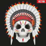 Human skull with indian chief hat and War Paint Stock Photography