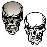 Human Skull Isolated Vector Illustration. Sharp vector illustration of a human skull with angry expression, separated in color and black line art versions for royalty free illustration