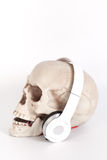 Human Skull listen to music by headset/headphone isolated on whi Royalty Free Stock Image