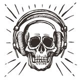 Human skull listening music. Vector human skull listening music with headphones. Sketchy Vintage Style hand drawn Illustration prints design for t-shirts stock illustration