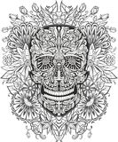 Human skull made of flowers stock illustration
