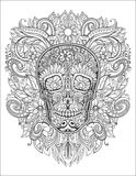 Human skull made of flowers,. Vector illustration Royalty Free Stock Photo