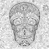 Human skull made of flowers. Vector illustration Royalty Free Stock Image