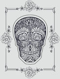 Human skull made of flowers. Vector illustration Stock Photography