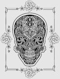 Human skull made of flowers. Vector illustration Royalty Free Stock Photo