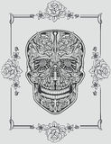 Human skull made of flowers Stock Image