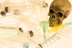 Human skull. And Medical equipment on white background Stock Images