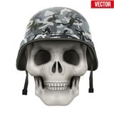 Human skull with Military helmet Stock Photography