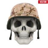 Human skull with Military helmet Royalty Free Stock Photos