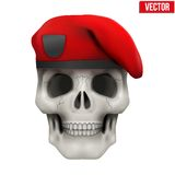 Human skull with Military maroon beret Royalty Free Stock Photo