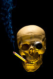 Human skull with monocle smoking cigarette Royalty Free Stock Image