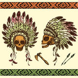 Human skull in native American Indian chief headdress with tomah. Vector illustration of human skull in native American Indian chief headdress with tomahawks Royalty Free Stock Images
