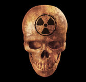 Human skull with nuke sign on white background with clipping pat Royalty Free Stock Photo