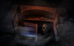 Human skull on old ancient window castle, Spooky background, Hal Royalty Free Stock Image