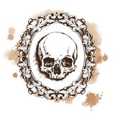 Human skull in oval filigree frame. Vector illustration Royalty Free Stock Images