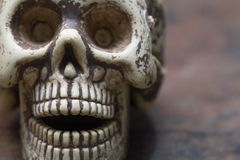 Human skull and pills on old wood background,Healthy care  conce Stock Image