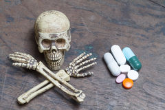 Human skull and pills on old wood background,Healthy care  conce Royalty Free Stock Image