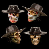 Human skull put on leather hat Royalty Free Stock Photography