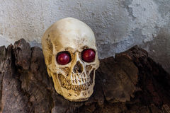 Human skull with red eye Stock Image
