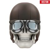 Human skull with retro aviator or biker helmet Stock Image