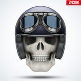 Human skull with retro chopper helmet. Stock Images