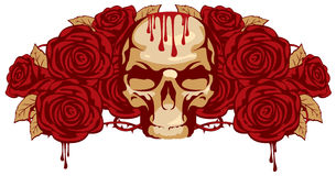 Human skull and rose Stock Photography