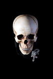 Human skull with silver cross Royalty Free Stock Photos