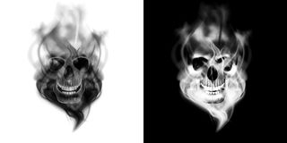 Human skull in the smoke. Realistic human skull in the smoke. Isolated object on white and black background, can be used with any image or text Royalty Free Stock Photos