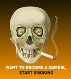 Human skull smoking cigarette. Harm of smoking. Illustration in vector format Royalty Free Stock Photos