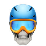 Human skull with snowboard helmet Royalty Free Stock Photo