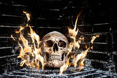 Human skull in stove stock photo