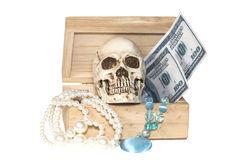 Human skull in treasure box Stock Images